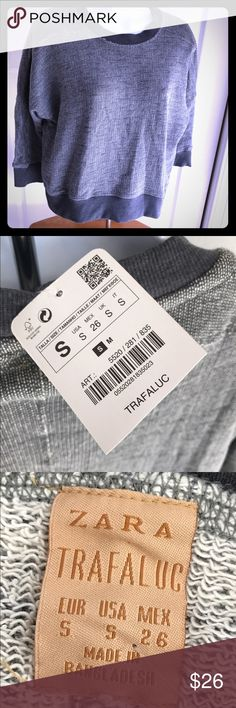 "Zara Trafaluc Collection Sweatshirt NWT ZARA Sweatshirt Sweater Top. 3/4 Sleeve Batwing. Herringbone pattern. Fits like a crop. Chest: 21"" laying flat and length: 20"". Cotton Blend. Zara Tops Sweatshirts & Hoodies"