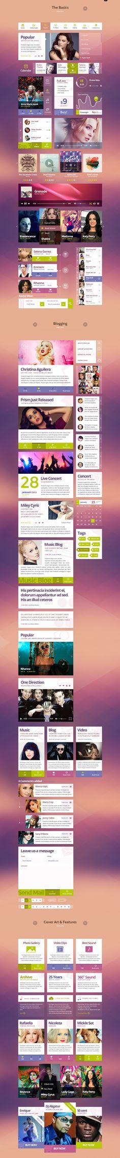 Funky Tunes UI Kit by WordPress Design Awards, via Behance Mobile Web Design, Web Ui Design, Graphic Design, Website Design Layout, Web Layout, Ui Kit, User Interface Design, Photoshop Design, Interactive Design