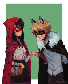 "orinte-artz: ""Late for Halloween, but have a Little Red Riding Hood version of Miraculous Ladybug~ """