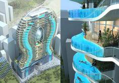 Een zwembad op het balkon van je hotelkamer vergt wel bijzondere veiligheidsconstructies. Dit is het ontwerp van het Bandra Ohm hotel in Mumbai in India. Ontworpen door James Law Cybertecture. Het complex moet nog worden gebouwd.