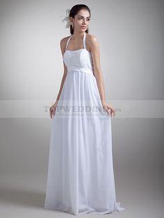 Halter Chiffon Floor Length Sheath Wedding Dress Featuring Beaded Bodice