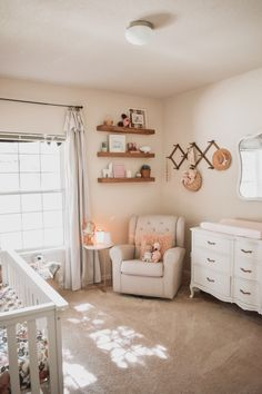 Ive always been excited for the day I got to decorate my own babys nursery Boho Nursery Girl Nursery Inspo nursery Boho Nursery, Baby Girl Nursery Decor, Baby Bedroom, Baby Room Decor, Nursery Room, Vintage Nursery Girl, Nursery Layout, Floral Nursery, Rustic Nursery