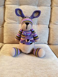 Amigurumi kangaroo made using a Stip and Haak pattern