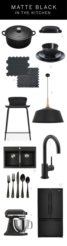 Black FAUCET has always been a chic, sophisticated color for the home and matte black is it's even more fashionable cousin. We've shown you stunning kitchens featuring the matte black trend and wanted to follow up with some specific products you can add to your kitchen to get the look at home: