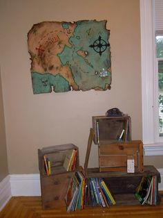 pirate room crate book shelves and brown paper bag map. This is awesoooome! Bedroom Themes, Kids Bedroom, Bedroom Ideas, Pirate Room Decor, Pirate Theme, Pirate Bathroom, Piece A Vivre, Kids Bath, Baby Boy Rooms