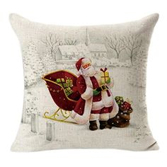 New Qualified Cushion Cover Christmas Linen Square Throw Flax Pillow Case Decorative