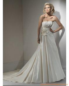 2013 Brautkleid aus Taft schulterfreier Ausschnitt mit gerafftem Korsett und A-Linie Rock mit einer Blume