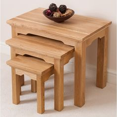 - OFF This set of three, solid oak nesting tables provides a multitude of decorating and service options without taking up any unnecessary space when they are not in use. Nesting Tables, Solid Oak, Aspen, Living Room Furniture, Stool, Well Dressed, King, Decorating, Space