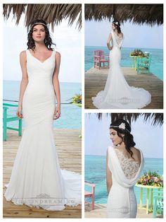 Chapel Length Train Chiffon Mermaid Wedding Gown With Asymmetric   Embellishment Back http://www.ckdress.com/chapel-length-train-chiffon-mermaid-wedding-  gown-with-asymmetric-embellishment-back-p-325.html  #wedding #dresses #dress #lightindream #lightindreaming #wed #clothing   #gown #weddingdresses #dressesonline #dressonline #bride