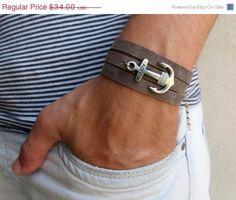 ONSALE 20 % de réduction cuir Bracelet - Bracelet gris - Mens bijoux - bijoux pour hommes pour hommes - cadeau Bracelet - Bracelet d'ancre pour hommes - hommes pour hommes