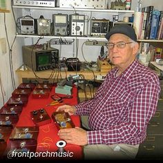 """By @frontporchmusic """"Ed Sanner cranking out some Nu Fuzz pedals for Bob Shade Hallmark guitars! #bakersfield"""""""