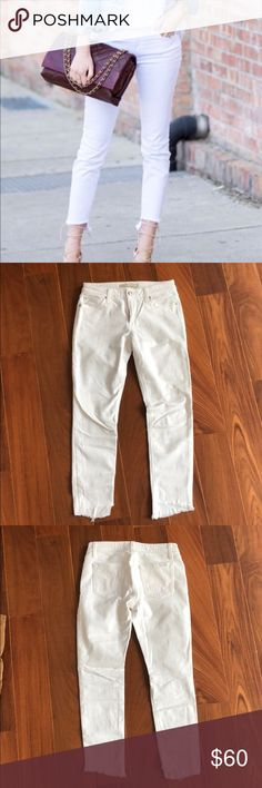 """Joe's Jeans """"The Blondie Ankle"""" Size 26 The coolest pair of white denim! On trend frayed hem cut at an angle to add style and detail. Made with stain resistant coating. Mid rise for comfort. Spotless white denim, perfect throughout spring and summer! Joe's Jeans Jeans Ankle & Cropped"""