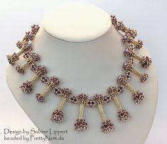 "Necklace ""Pendulum"" beaded by PrettyNett. Beading Tutorials, Beading Patterns, Handmade Beaded Jewelry, Beaded Necklaces, Hair Pins, Diy And Crafts, Jewelery, Weaving, Jewelry Making"