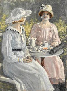 Tea in the garden von Paul Fischer