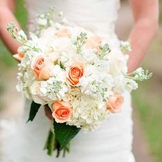 Bridal bouquet made using Hydrangea, Stock, Vendella Roses and Coral Rose