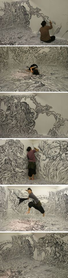 Japanese artist Yosuke Goda drew his 'Waves' on the walls and floor of a room. We think that he shouldn't stop there.: