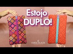 Estojo DUPLO   faça e venda   Carol Vilalta - YouTube Pouch Tutorial, Diy Purse, Cloth Bags, Sewing Projects, Patches, Diy Crafts, Make It Yourself, Tote Bag, Purses