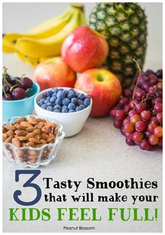 Apple cherry almond smoothie 3 tasty smoothie recipes for kids that will help them feel full! These delicious smoothies are packed with protein that will help fill tummies and give your kids energy to last all morning long. Smoothie Recipes For Kids, How To Make Smoothies, Smoothies For Kids, Shake Recipes, Healthy Breakfast On The Go, Healthy Breakfast Smoothies, Yummy Smoothies, Breakfast Recipes, No Cook Meals