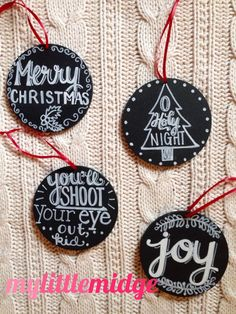 Believe it or not, Christmas is just around the corner! These ornaments are coated with chalkboard paint on 4 wooden circle (roughly 1/4 thick),