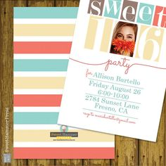 Sweet Sixteen Birthday Party Invitation by SweetHammerPress