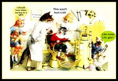 Funny vintage cats at the dentist with a modern twist.