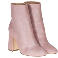 Ankle Boots ($440) ❤ liked on Polyvore featuring shoes, boots, ankle booties, heels, pink, botas, mid-heel boots, heeled bootie, short boots and ankle boots
