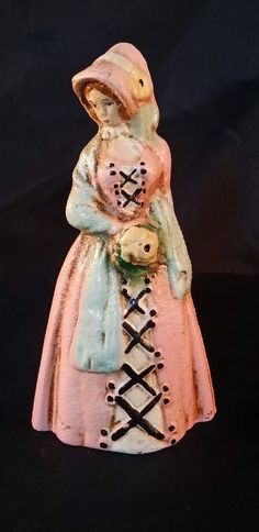 """RARE Antique Cast Iron Door Stop Hand Painted Colonial Lady 4""""x7"""" Marked JW WOW"""