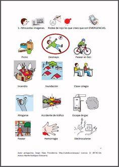 """MATERIALES - """"Conocer emergencias: ¿qué hacer?"""".    Fichas para trabajar el reconocimiento de situaciones de emergencia. Aprender ún sencillo protocolo para pedir ayuda. Aprender a usar el número de teléfono de las emergencias.    http://arasaac.org/materiales.php?id_material=951"""