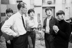 The Beatles, John Lennon, Paul McCartney, George Harrison and Ringo Starr with George Ringo Starr, George Harrison, Paul Mccartney, John Lennon, Great Bands, Cool Bands, Music Is Life, New Music, Sir George Martin