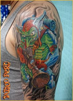 Alien Leprechaun, pretty cool design, beautiful color. This one is from Peru - - #talesofthetatt #tattoo  #Irish #StPatricksDay- www.talesofthetatt.com Irish Tattoos, Leprechaun, Pretty Cool, St Patricks Day, Cool Designs, Cool Stuff, Create, Beautiful, Tattoo