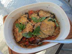 aubergine, tomato & parmesan bake