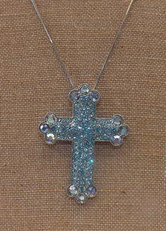 Exquisite Aquamarine Cross Necklace by TheGreenEyedTurtle on Etsy, $40.00