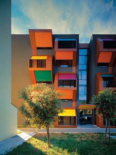 Colour blocking at exterior design adds spark & funky mood  to the Exterior Elevation