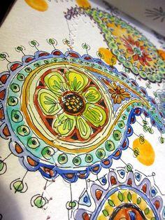 Paisley Watercolor by Jane LaFazio. Inspiration for possible girl nursery artwork?