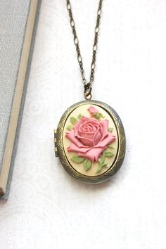 Big Locket Necklace Rose Cameo Pendant Dusty Rose Pink Romantic Vintage Style Photo Locket Long Chain Gift For Mom Memories Keepsake Jewelry