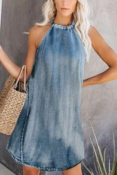 Womens Fashion - Shopping Casual Sleeveless Pure Color Dress online with high-quality and best prices Casual Dresses at Luvyle. Artisanats Denim, Wide Leg Denim, Elegant Dresses, Casual Dresses, Dresses For Work, Sexy Dresses, Summer Dresses, Pretty Dresses, Formal Dresses