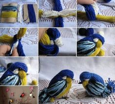 Related Posts: DIY Crochet Pretty Panama Hat for Girls DIY Crochet Daisies Flower Blanket How to Knit a Useful and Pretty Slipper These yarn birdies are so cute. You can make some to decorate your hom (Minutes Diy)The DIY yarn birdies look super cute . Kids Crafts, Easter Crafts, Christmas Crafts, Arts And Crafts, Christmas Tree, Easy Yarn Crafts, Xmas, Crochet Diy, Crochet Pattern