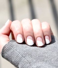 White Nail Art Idea With Negative Space  Half white half negative space nail art idea