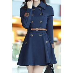 Stylish Turn-Dowm Collar Long Sleeve Double-Breasted With Belt Women's Trench Coat, DEEP BLUE, M in Jackets & Coats | DressLily.com