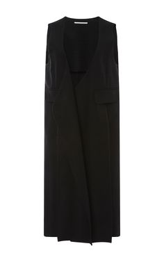 Black Silk Cotton Blend Split Tuxedo Vest by ROSETTA GETTY Now Available on Moda Operandi