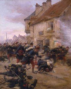 Contre-attaque d'infanterie dans un village.1870- Paul Grolleron