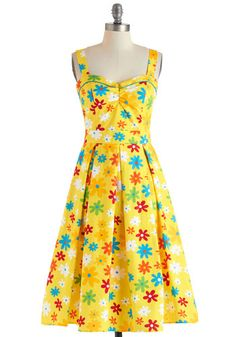 Something Tells Me Dress by Bettie Page - Cotton, Long, Yellow, Multi, Floral, Pleats, Casual, Vintage Inspired, Fit & Flare, Sweetheart, 50s, Sleeveless, Neon, Summer