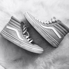 Vans Gray Canvas Sk8 hi size 6.5 like new! Urban Outfitters Shoes Sneakers