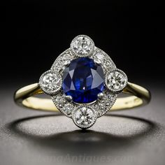 Sapphire and Diamond Ring http://www.langantiques.com/products/item/30-1-7009