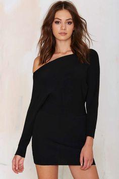 Black Off-the-Shoulder Knit Dress