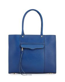 MAB Medium Leather Tote Bag, Electric Blue | $275