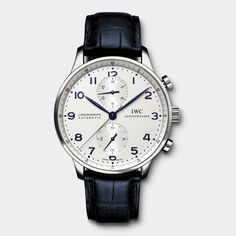 IWC Portugieser Chronograph with a blue strap.
