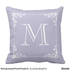 Shop Monogrammed Pastel Purple Elegant Vintage Pillow created by girlygirlgraphics. Custom Pillows, Decorative Pillows, M Monogram, Wedding Pillows, Vintage Pillows, Pastel Purple, Pillow Design, Playroom, Wedding Gifts