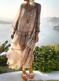 boho Dress - € - Solid Wrap Long Sleeve Maxi A-line Dress Long Sleeve Midi Dress, Maxi Dress With Sleeves, Half Sleeves, Sleeved Dress, Casual Dresses For Women, Clothes For Women, Robes Midi, Vestido Casual, Spring Dresses