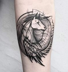 Unicorn Sketch Style Tattoo by Frank Carrilho Good versus evil. A yin yang symbol created by intertwining a two-horned dragon with a single-horned horse I mean unicorn.